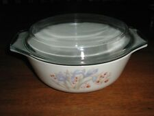 PYREX CASSEROLE WITH IRIS PATTERN SIZE 1.250 lt   MADE IN ENGLAND