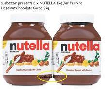 New 2 x NUTELLA 1kg Jar Ferrero Hazelnut Chocolate Cocoa 2kg