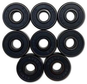 8 Stk. ABEC 11 Premium Kugellager schwarz für Long Boards Inline Skates 608 RS