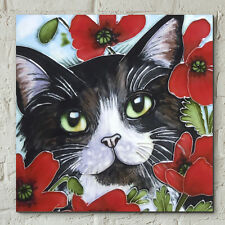 Peering Through Poppies by J Yates 8x8 Decorative Ceramic Picture Art Tile 05298