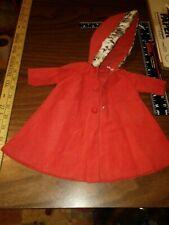 "Red Corduroy coat hood flux fur 14""-16"" Doll 8""-12"" chest x 3""sleeve"