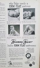 1952 bunny bear firm flat baby bed mattress infant diaper vintage ad
