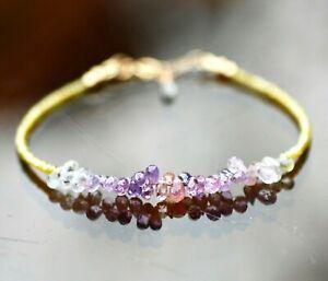 "Natural Purple Sapphire Yellow Diamond Bracelet Solid 14K Yellow Gold, 6.8""-7.3"""