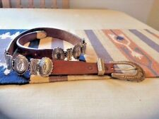 """*VINTAGE* FABULOUS! Justin Women's Leather Belt With Concho's 32"""" SIZE"""