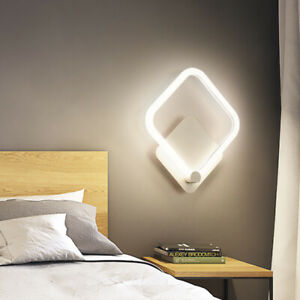 Modern LED Wall Light Fixture Acrylic Bedside Lamp Round/Square Corridor Bedroom