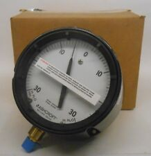 "ASHCROFT BELLOWS GAUGE, 238A520-01, 30-0 IN H2O VAC, 0-30 IN. H2O, 4"" FACE"