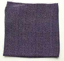 New Mens Bloomingdales Silk Wool Purple Herringbone Handkerchief Pocket Square