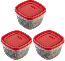 Lot Of 3 Rubbermaid 7 Cup Easy Find Lid Square Food Storage Containers