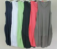 NEW LADIES SUMMER LAGENLOOK QUIRKY BOHO SLEEVELESS COCOON TUNIC DRESS