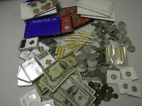 HUGE ESTATE LOT US COINS+SILVER+GOLD+GEM BU+PROOF+UPTO 125 Y.O.+PCGS+CURRENCY