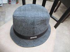 ~~CAVIN KLEIN Gray Black Banded Men's Fedora Hat One Size~~Silver Metal Logo $65