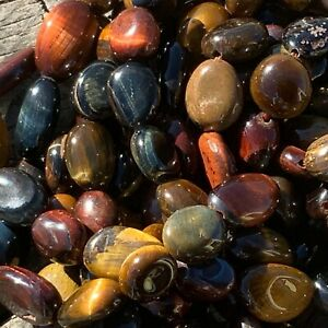 Full Strand Natural Mixed Tiger Eye Nuggets 8-15mm x 8-10mm x 4-10mm 1mm Hole