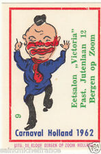 9. MATCHBOX LABEL 1962 CARNAVAL COSTUME NETHERLANDS PAYS BAS Carnival CARD 60s