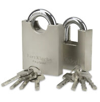 FORTXLOCKS H/DUTY PROTECTED SHACKLE CONTAINER PADLOCK X 4 50MM * KEYED ALIKE *