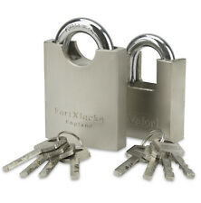 FORTXLOCKS HEAVY DUTY PROTECTED SHACKLE CONTAINER PADLOCK X 2 ** KEYED ALIKE **