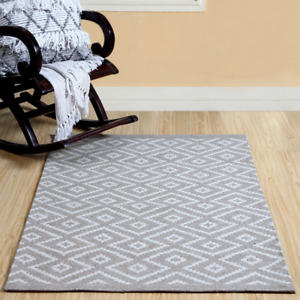 Wool Blend Woven Rug Diamond Printed Carpet Polyester Mat Large(100X150 cm appr)