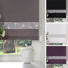 EASY To FIT DIAMOND DIAMANTE TRIM STRAIGHT EDGE ROLLER BLINDS WINDOW BLIND