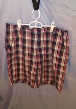 Vintage Bugle Boy 100% Cotton Red/White/Blue Plaid Shorts Men's sz 36