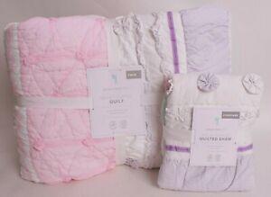 Pottery Barn Kids Bailey Ruffle twin quilt & standard sham, pink aqua purple