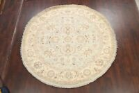Vegetable Dye Oushak-Chobi Floral Oriental Area Rug Wool Round Hand-knotted 8x8
