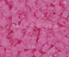 Pink Stars Glow in Dark Pony Beads 100pc for jewelry kandi party beading