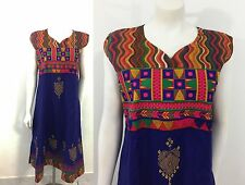 Vintage Style Ethnic India Dress Boho Hippie Gypsy Embroidered Festival Mirrors