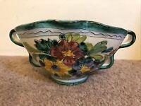 Italian studio pottery - hand painted - floral table décor centre piece
