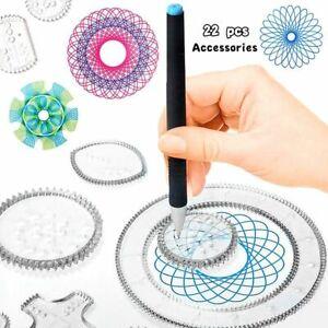 22 Pcs Spirograph Drawing Toys Set Interlocking Wheel Gears Geometric Ruler Kids