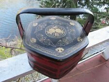 Antique Red Chinese Wedding Basket With Flying Bats Design