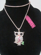 """BETSEY JOHNSON RHINESTONE CRYSTAL BEADS OWL ON BRANCH NECKLACE 30"""" CHAIN"""
