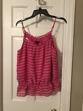 NWT BANANA REPUBLIC Hot Pink And White Striped Ruffled Cami Adjustable Straps M