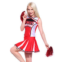 Glee Style High School Girl Cheerleader Cheerleading Costume Outfit w/ Pom Poms