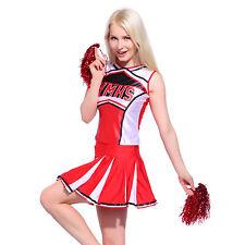 Glee Style High School Girl Cheerleader Cheerleading Costume Outfit w/ Pom Poms