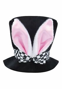Childs Fancy Dress Mad Hatters Tea Party Hat with Bunny Rabbit Ears Wonderland