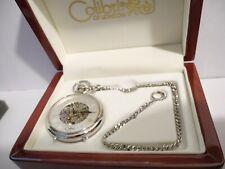 W/Feet New W/Chain lowered price Colibri 17Jwl Silvertone Skeleton Pocketwatch