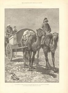1891 ANTIQUE PRINT - ACROSS MONGOLIA - WITH RUSSIAN HEAVY MAIL ACROSS THE GOBI