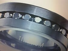 MENS TITANIUM  LCS BLACK DIAMOND WEDDING BAND RING SIZES 7-15 CK TO SEE IF LEFT