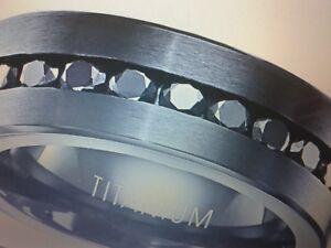 MENS TITANIUM  LCS BLACK DIAMOND WEDDING BAND RING SIZES 7-15 CK TO SEE IF LEFT