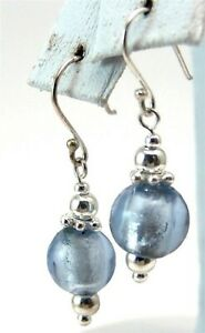 Sterling Silver Earrings French Ear Wires Blue Tint New