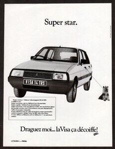 1984 CITROEN Visa Vintage Original Print AD White car photo little dog French