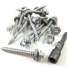 200, 6.3 x 100mm GASH POINT CORRUGATED ROOFING CLADDING SCREW 16mm RUBBER WASHER