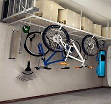 "Garage Storage Rack 4x8 Heavy Duty Adjustable Ceiling Dropdown 96""L x 48""W White"