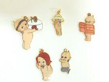 #24 Lot Of 5 Vintage Cloisonne Kewpie Charms-Various Brands-Reader, Mermaid,