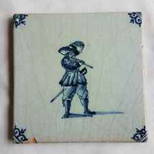 Antique Delft Wall Tile Minstrel / Musician blue white delftware