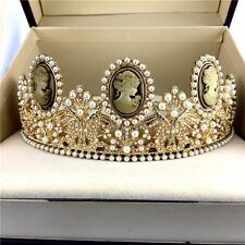 Baroque Wedding Bride Queen Pearl Crown Tiaras Pageant Hair Accessories Jewelry