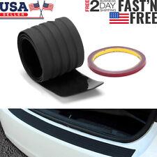 Black Car Rear Bumper Rubber Pad Kit Guard Sill Plate Trunk Protector Trim Cover