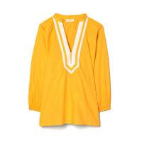 Tory Burch $298 Puffed Sleeve Tunic Top Blouse L Vine Orange White Twill Trim