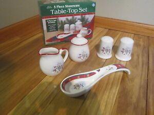 Royal Seasons Table Top Set Snowman Design. 5 Piece Stoneware. Vintage.