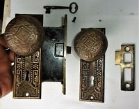 Antique Ornate Set EASTLAKE VICTORIAN Backplates Door Knobs Mortise Lock Key