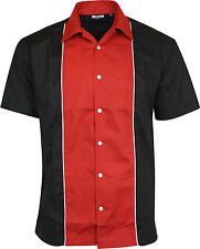 Relco Mens Red & Black Bowling Shirt Rockabilly Retro 50s Club Swing Lounge
